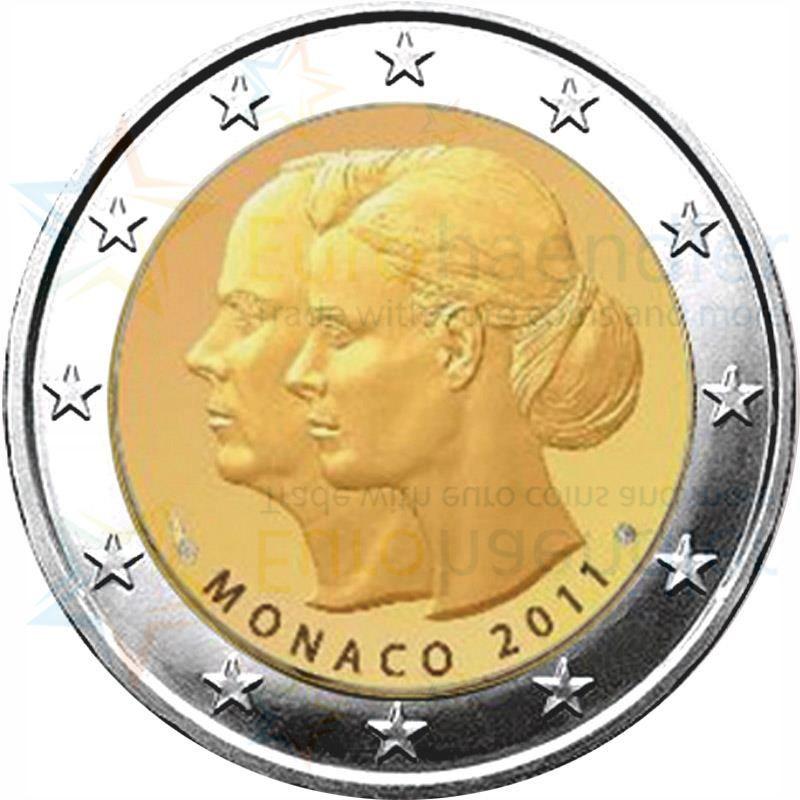 monaco kms 2011 1 cent 2 euro mit 2 euro gedenkm nze. Black Bedroom Furniture Sets. Home Design Ideas