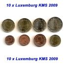 Luxemburg KMS 2009 ST 1 Cent - 2 Euro 10 x lose
