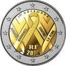 Frankreich 2 Euro Gedenkmünze 2014 UNC - Welt Aids...