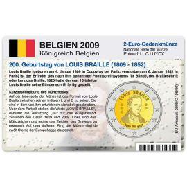 Belgien Münzkarte für 2 Euro 2009 Louis Braille