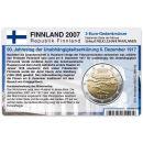Finnland Münzkarte für 2 Euro 2007 90 Jahre...