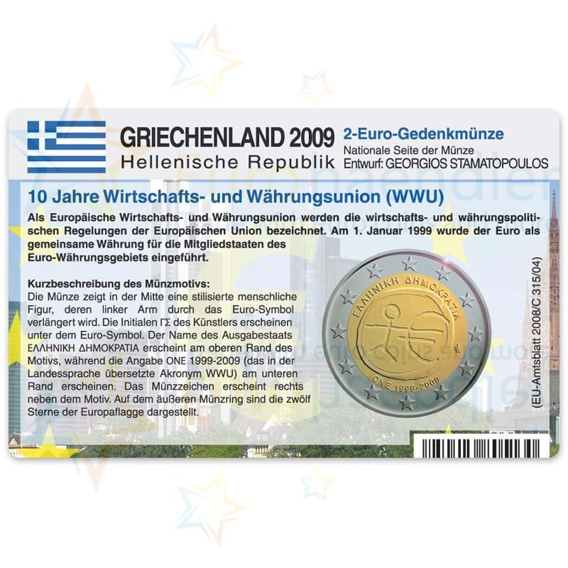 Griechenland Münzkarte Für 2 Euro 2009 10 Jahre Wwu