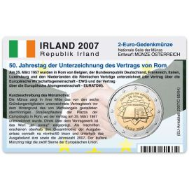 Irland Münzkarte für 2 Euro 2007 50 Jahre Römische Verträge