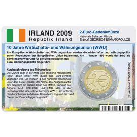 Irland Münzkarte für 2 Euro 2009 10 Jahre WWU