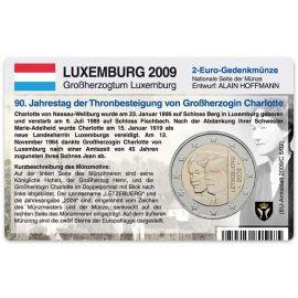 Luxemburg Münzkarte für 2 Euro 2009 Thronbesteigung Charlotte