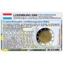 Luxemburg Münzkarte für 2 Euro 2009 10 Jahre WWU