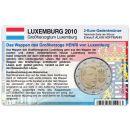 Luxemburg Münzkarte für 2 Euro 2010 Wappen...