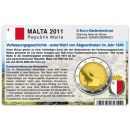Malta Münzkarte für 2 Euro 2011...
