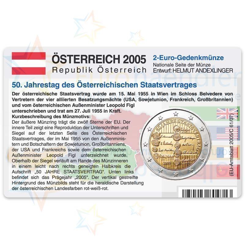 österreich Münzkarte Für 2 Euro 2005 50 Jahre Staatsvertrag