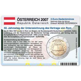 Österreich Münzkarte für 2 Euro 2007 50 Jahre Römische Verträge