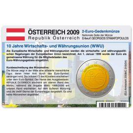 Österreich Münzkarte für 2 Euro 2009 10 Jahre WWU