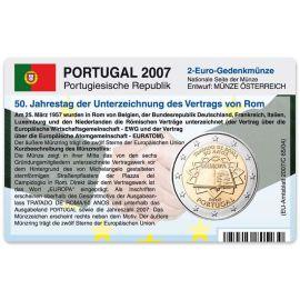 Portugal Münzkarte für 2 Euro 2007 50 Jahre Römische Verträge