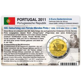 Portugal Münzkarte für 2 Euro 2011 500. Geburtstag Fernao Pinto