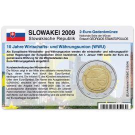 Slowakei Münzkarte für 2 Euro 2009 10 Jahre WWU