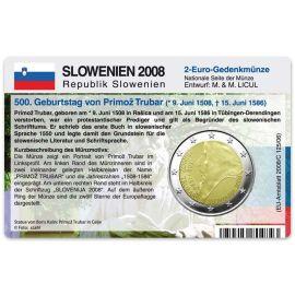 Slowenien Münzkarte für 2 Euro 2008 Primoz Trubar