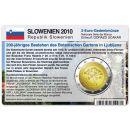 Slowenien Münzkarte für 2 Euro 2010 Botanischer...