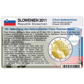 Slowenien Münzkarte für 2 Euro 2011 Franc Rozman