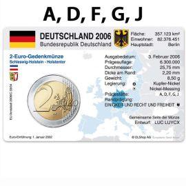 Deutschland Münzkarten für 5x 2 Euro 2006 Schleswig Holstein