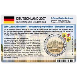 """Deutschland Münzkarte für 2 Euro 2007 Mecklenburg-Vorpommern """"D"""""""