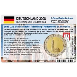 """Deutschland Münzkarte für 2 Euro 2008 Hamburg - MIchel """"F"""""""
