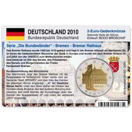 """Deutschland Münzkarte für 2 Euro 2010 Bremen - Bremer Rathaus """"A"""""""
