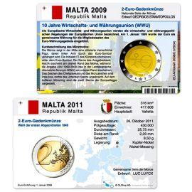 Malta Münzkarten Set für alle 2 Euro Gedenkmünzen