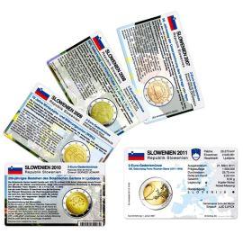 Slowenien Münzkarten Set für alle 2 Euro Gedenkmünzen