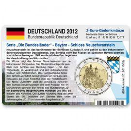 """Deutschland Münzkarte für 2 Euro 2012 Bayern - Neuschwanstein """"D"""""""