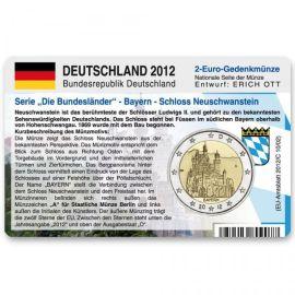 """Deutschland Münzkarte für 2 Euro 2012 Bayern - Neuschwanstein """"A"""""""