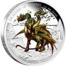 Tuvalu 1 Dollar 2013 PP Dreiköpfiger Drache Silber...