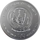 Ruanda Rwanda 50 Francs 2018 ST Jahr des Hundes 1Oz Unze...