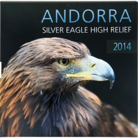 Andorra 1 Diner Gedenkmünze 2014 PP Eagle High Relief Silber im Folder