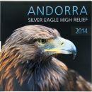 Andorra 1 Diner Gedenkmünze 2014 PP Eagle High Relief Silber im Folder