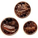 Griechenland 1 Cent 2 Cent 5 Cent 2020 ST aus KMS lose