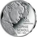Deutschland 20 Euro 2021 PP 100. Geburtstag Sophie Scholl...