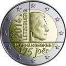 Luxemburg 2 Euro Gedenkmünze 2014 ST 175  Jahre...